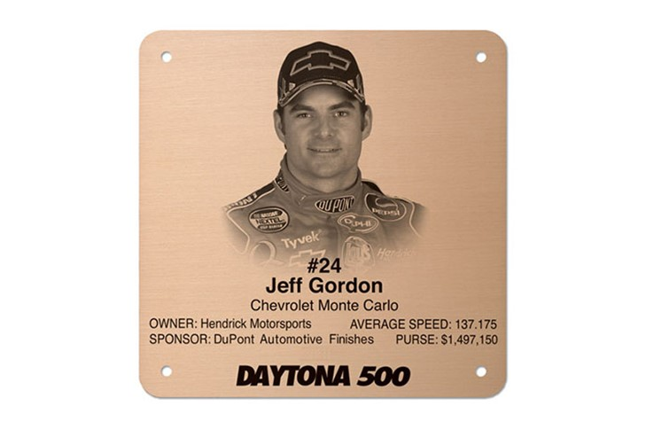 Jeff Gordon Etched Metal Pllaques