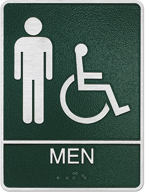 metal ada mens hc restroom sign Style H