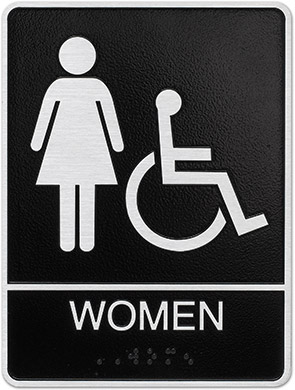 metal ada womens hc restroom sign Style F